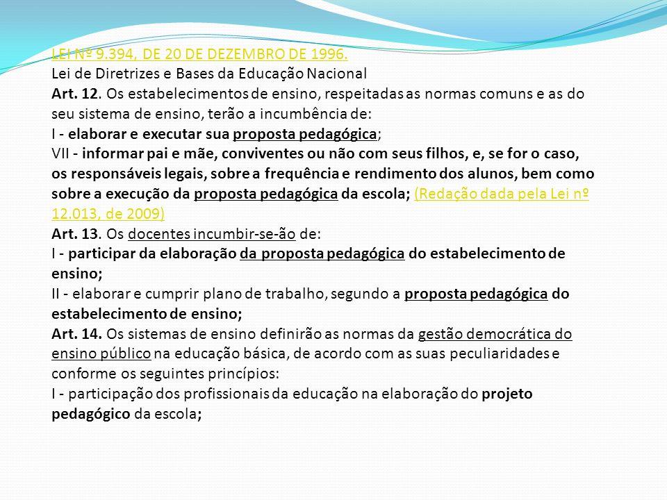 LEI Nº 9.394, DE 20 DE DEZEMBRO DE 1996. Lei de Diretrizes e Bases da Educação Nacional Art. 12. Os estabelecimentos de ensino, respeitadas as normas