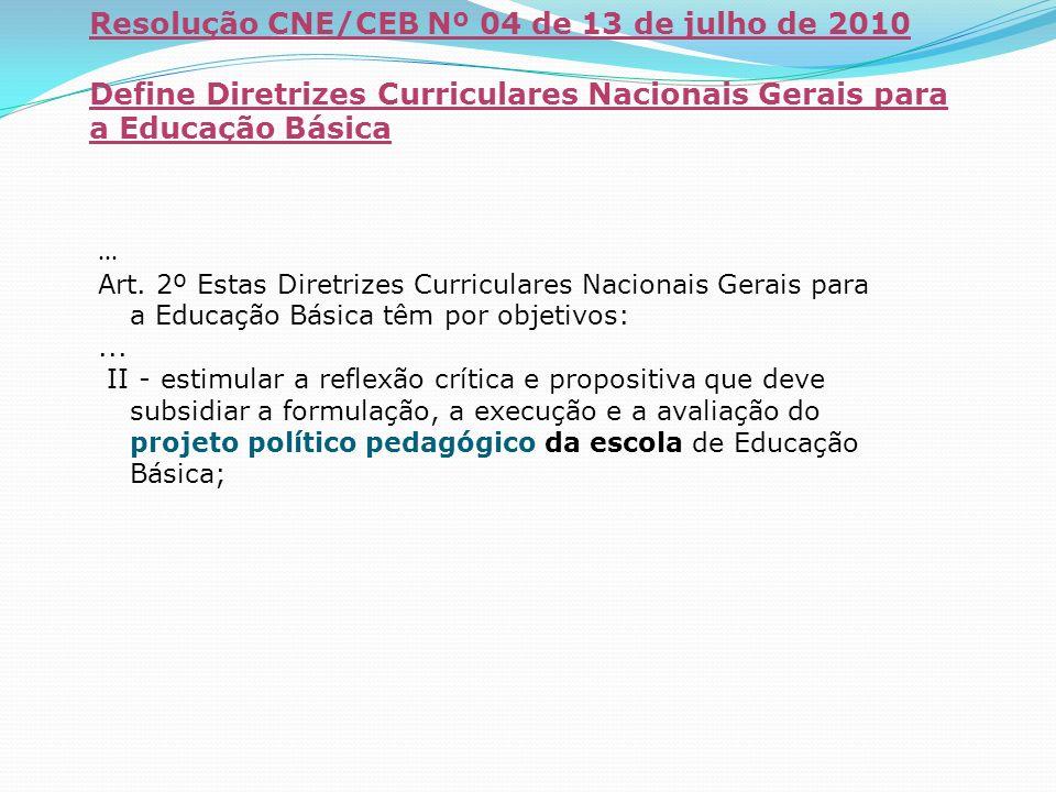 Resolução CNE/CEB Nº 04 de 13 de julho de 2010 Define Diretrizes Curriculares Nacionais Gerais para a Educação Básica... Art. 2º Estas Diretrizes Curr
