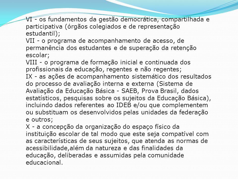 VI - os fundamentos da gestão democrática, compartilhada e participativa (órgãos colegiados e de representação estudantil); VII - o programa de acompa