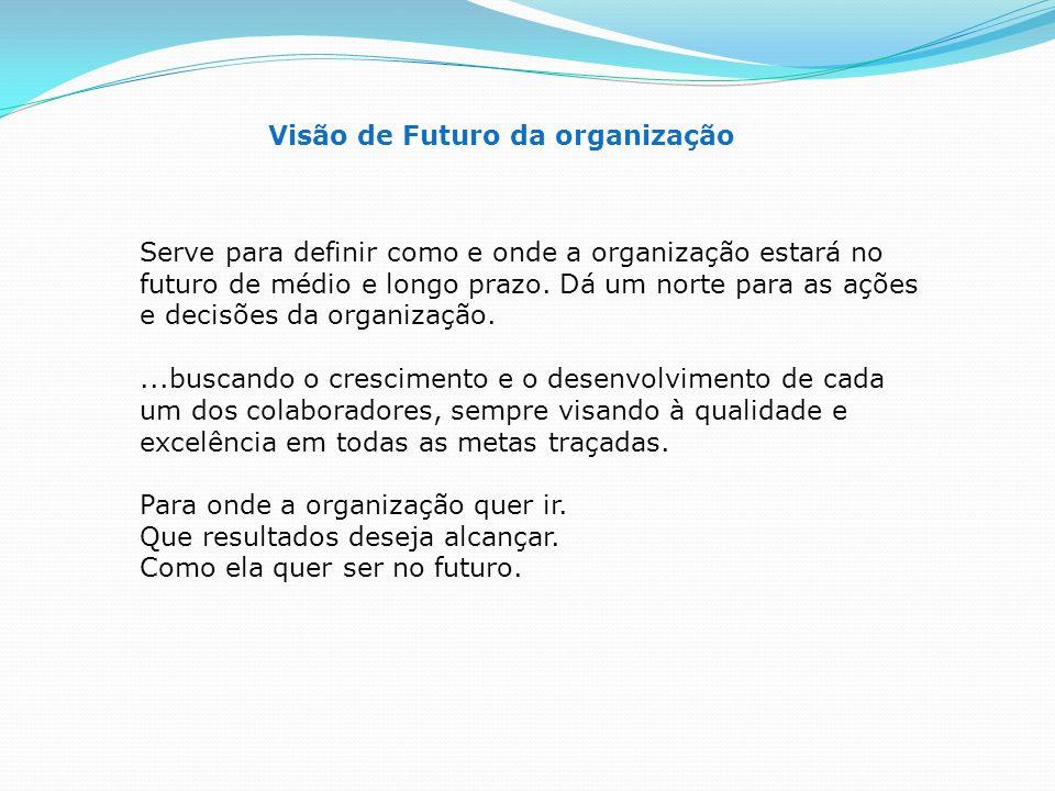 Visão de Futuro da organização Serve para definir como e onde a organização estará no futuro de médio e longo prazo. Dá um norte para as ações e decis