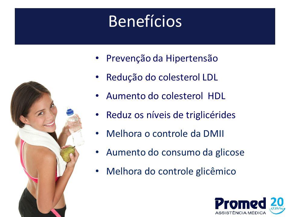 Benefícios Prevenção da Hipertensão Redução do colesterol LDL Aumento do colesterol HDL Reduz os níveis de triglicérides Melhora o controle da DMII Au
