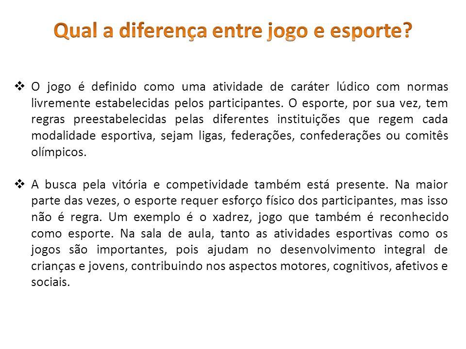  O jogo é definido como uma atividade de caráter lúdico com normas livremente estabelecidas pelos participantes.