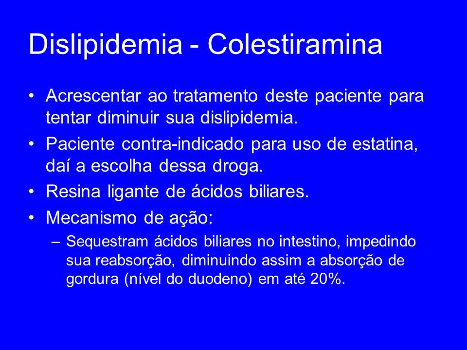 Dislipidemia - Colestiramina Acrescentar ao tratamento deste paciente para tentar diminuir sua dislipidemia. Paciente contra-indicado para uso de esta