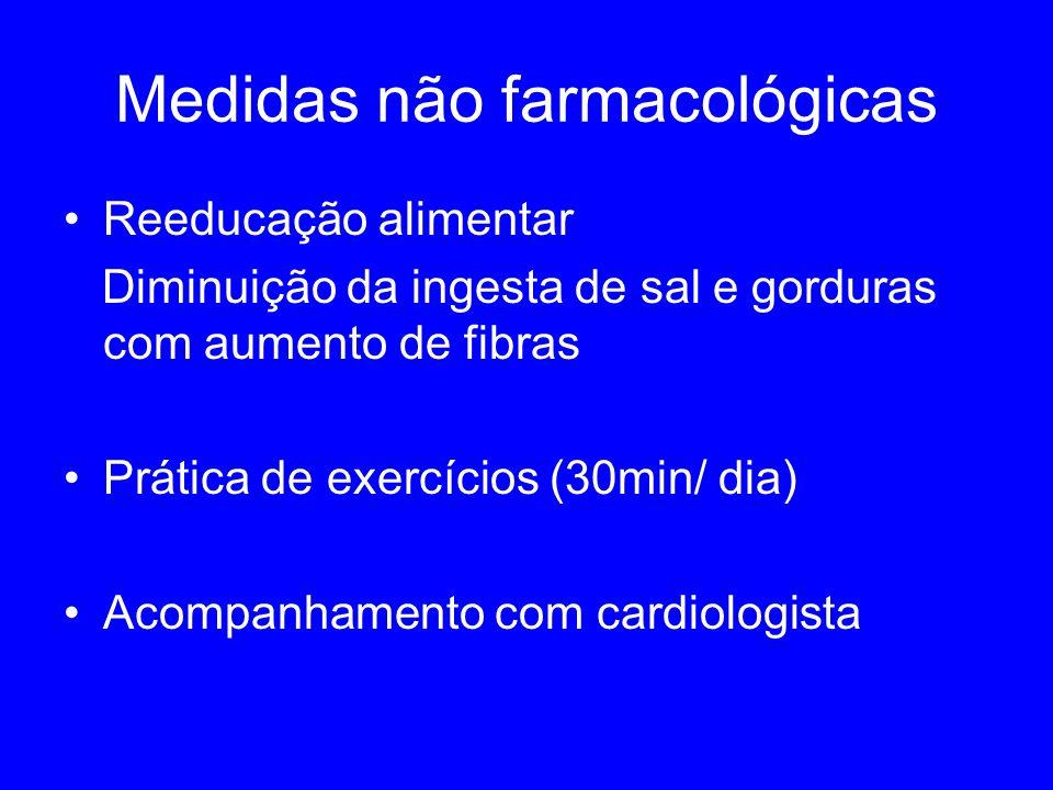 Medidas não farmacológicas Reeducação alimentar Diminuição da ingesta de sal e gorduras com aumento de fibras Prática de exercícios (30min/ dia) Acompanhamento com cardiologista