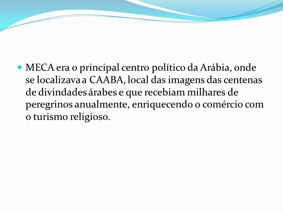 MECA era o principal centro político da Arábia, onde se localizava a CAABA, local das imagens das centenas de divindades árabes e que recebiam milhares de peregrinos anualmente, enriquecendo o comércio com o turismo religioso.