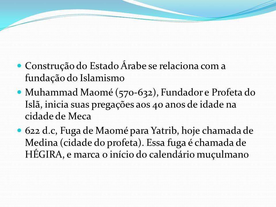 Construção do Estado Árabe se relaciona com a fundação do Islamismo Muhammad Maomé (570-632), Fundador e Profeta do Islã, inicia suas pregações aos 40 anos de idade na cidade de Meca 622 d.c, Fuga de Maomé para Yatrib, hoje chamada de Medina (cidade do profeta).