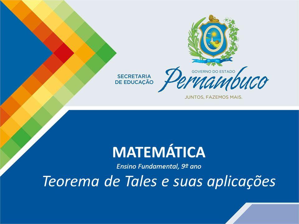 Matemática – 9º ano do Ensino Fundamental Teorema de Tales e suas aplicações TEOREMA DE TALES Feixes de retas paralelas intersectadas por segmentos transversais formam segmentos de retas proporcionalmente correspondentes.