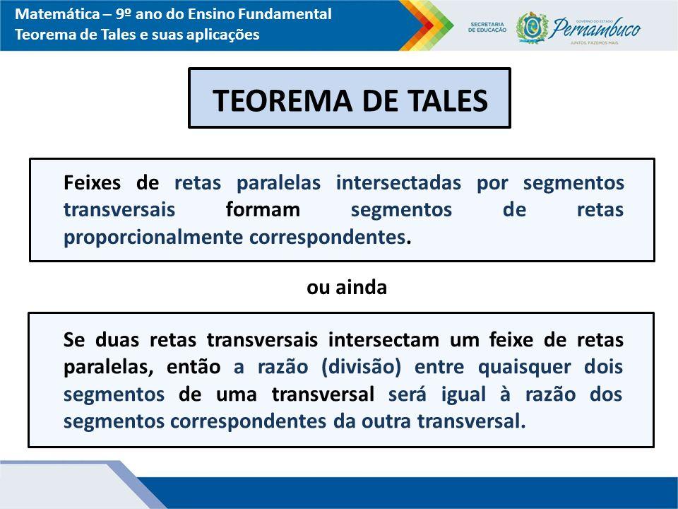 Matemática – 9º ano do Ensino Fundamental Teorema de Tales e suas aplicações TEOREMA DE TALES Feixes de retas paralelas intersectadas por segmentos tr
