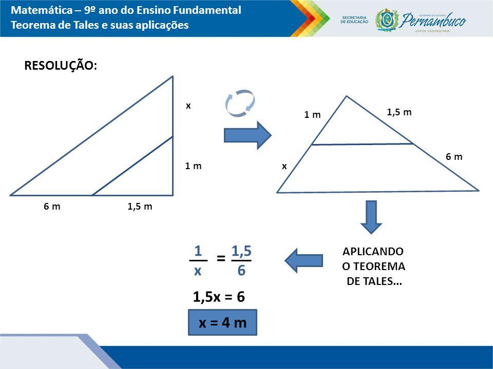 Matemática – 9º ano do Ensino Fundamental Teorema de Tales e suas aplicações RESOLUÇÃO: 6 m1,5 m 1 m x x 1,5 m 6 m APLICANDO O TEOREMA DE TALES... 1x1