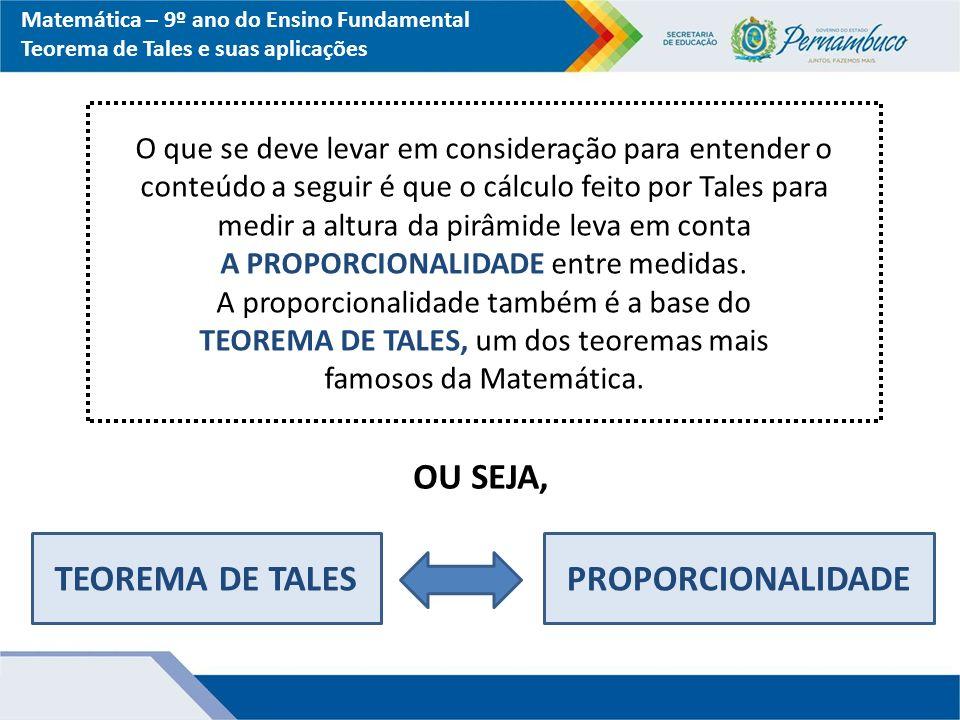 Matemática – 9º ano do Ensino Fundamental Teorema de Tales e suas aplicações RESOLUÇÃO: 6 m1,5 m 1 m x x 1,5 m 6 m APLICANDO O TEOREMA DE TALES...