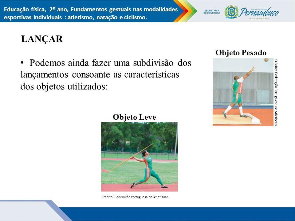 LANÇAR Educação física, 2º ano, Fundamentos gestuais nas modalidades esportivas individuais : atletismo, natação e ciclismo.