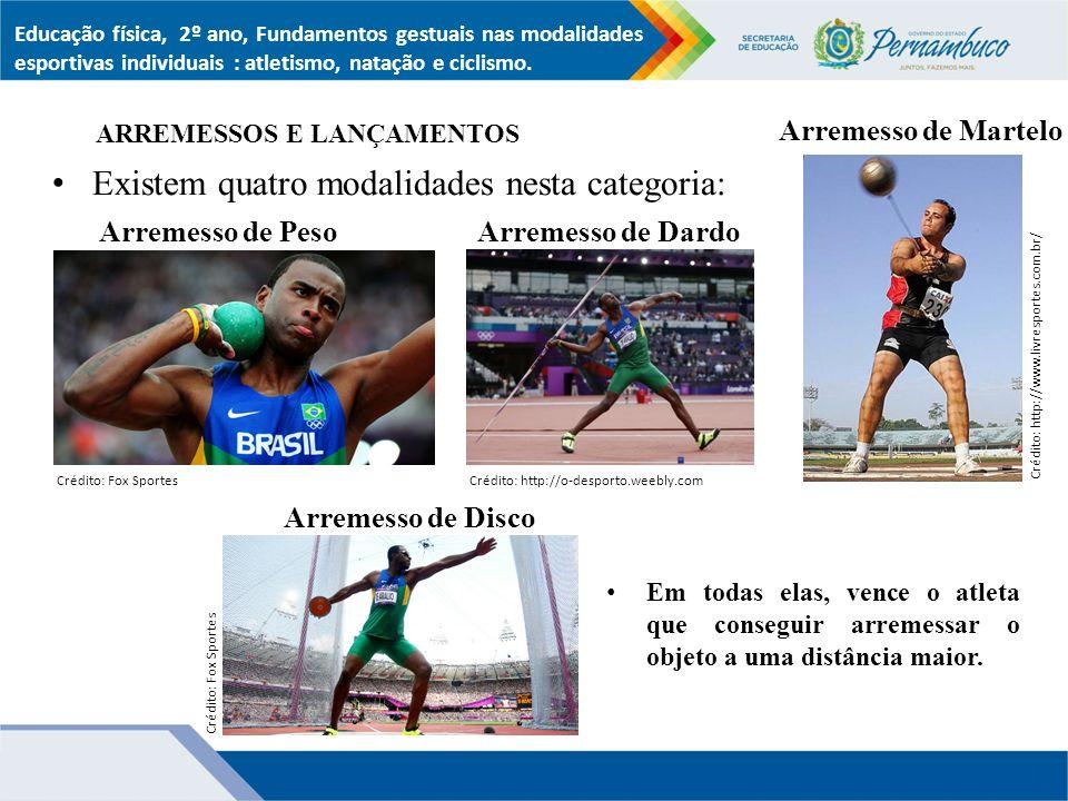 Existem quatro modalidades nesta categoria: ARREMESSOS E LANÇAMENTOS Em todas elas, vence o atleta que conseguir arremessar o objeto a uma distância maior.