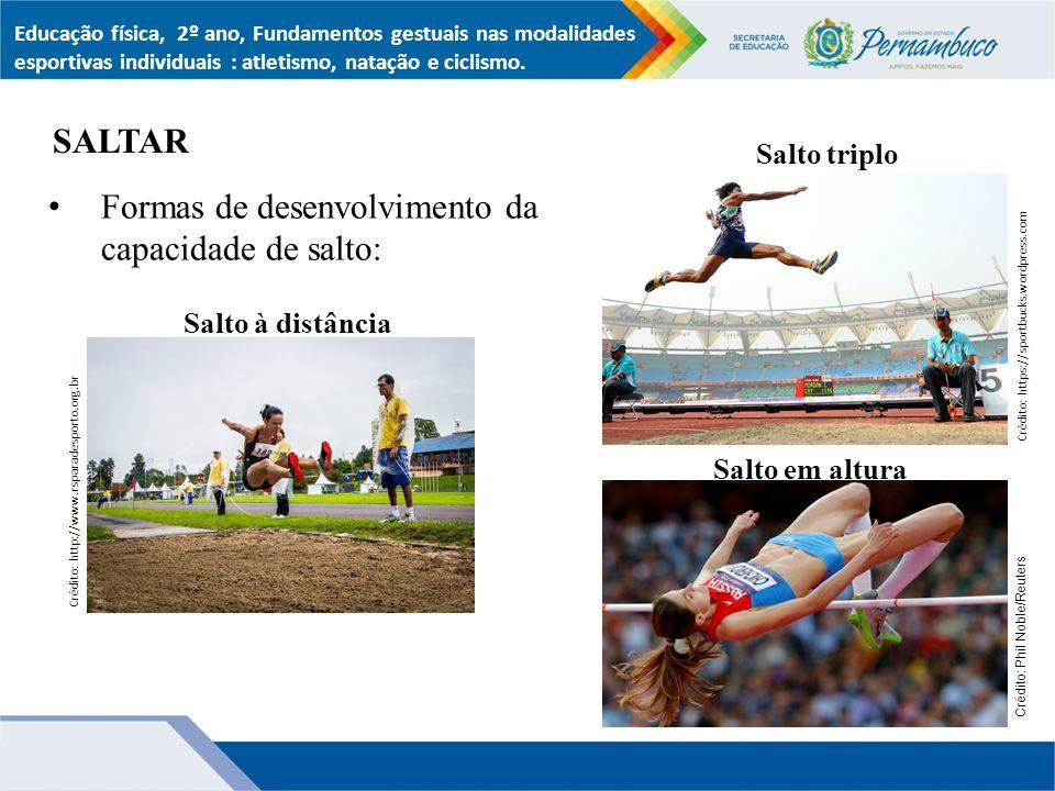Formas de desenvolvimento da capacidade de salto: SALTAR Educação física, 2º ano, Fundamentos gestuais nas modalidades esportivas individuais : atletismo, natação e ciclismo.