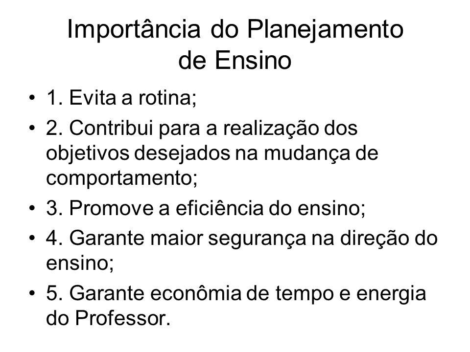 Importância do Planejamento de Ensino 1. Evita a rotina; 2.