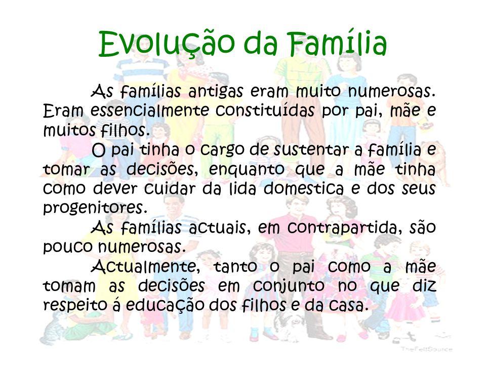 Diferenças entre famílias antigas e modernas Famílias Modernas Pouco numerosas.