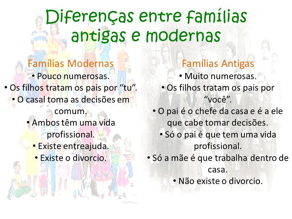 """Diferenças entre famílias antigas e modernas Famílias Modernas Pouco numerosas. Os filhos tratam os pais por """"tu"""". O casal toma as decisões em comum."""