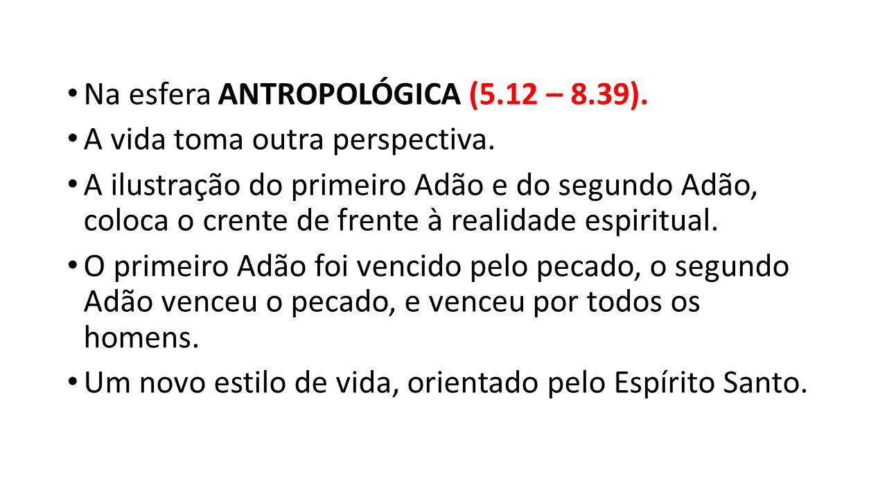 Na esfera ANTROPOLÓGICA (5.12 – 8.39). A vida toma outra perspectiva. A ilustração do primeiro Adão e do segundo Adão, coloca o crente de frente à rea