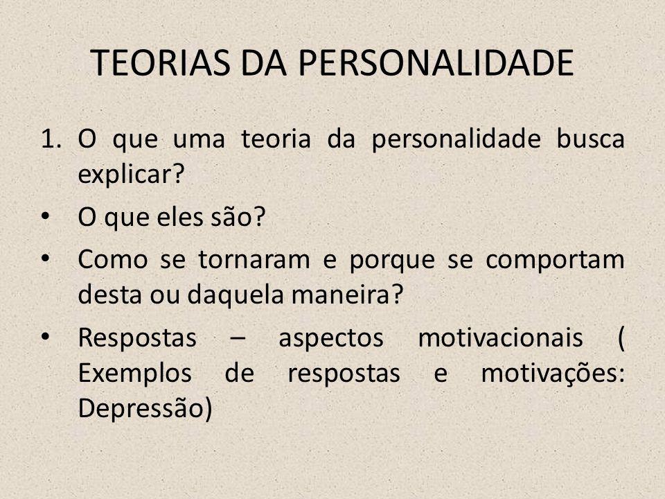 TEORIAS DA PERSONALIDADE 1.O que uma teoria da personalidade busca explicar.