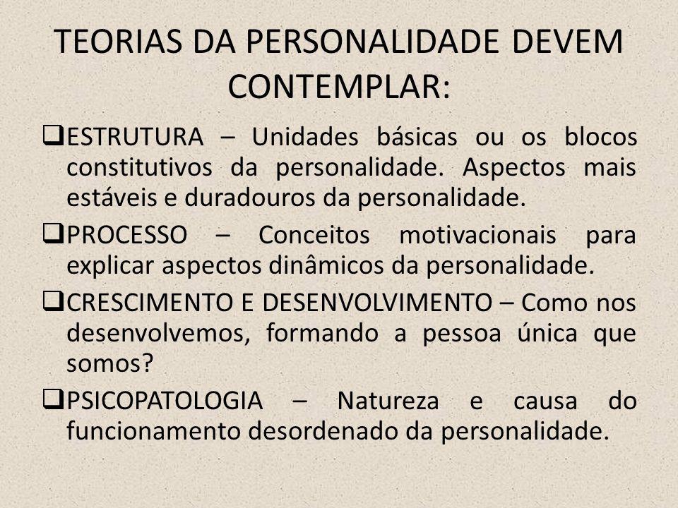 TEORIAS DA PERSONALIDADE DEVEM CONTEMPLAR:  ESTRUTURA – Unidades básicas ou os blocos constitutivos da personalidade.
