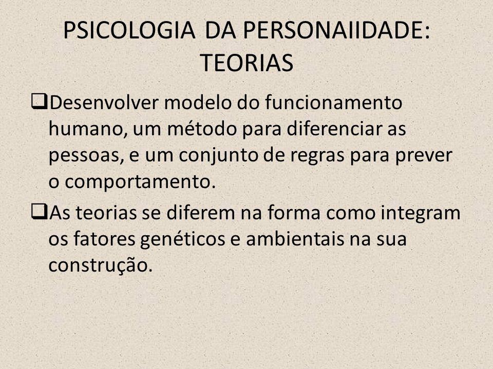 PSICOLOGIA DA PERSONAIIDADE: TEORIAS  Desenvolver modelo do funcionamento humano, um método para diferenciar as pessoas, e um conjunto de regras para prever o comportamento.