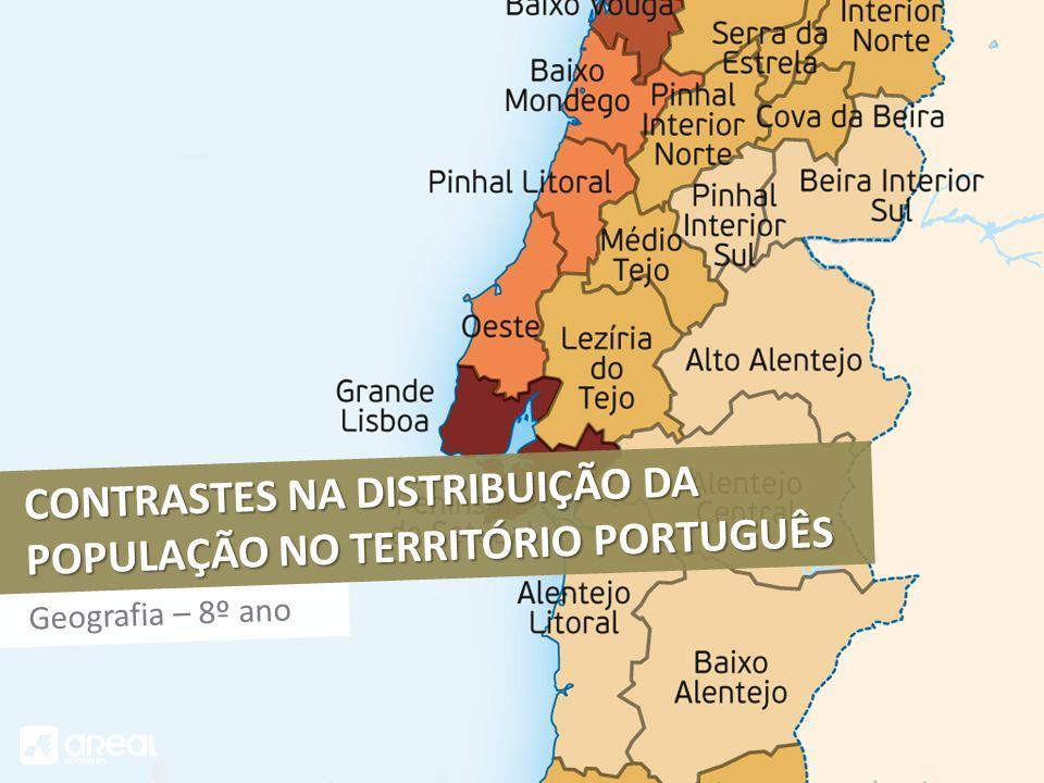 CONTRASTES NA DISTRIBUIÇÃO DA POPULAÇÃO NO TERRITÓRIO PORTUGUÊS Geografia – 8º ano