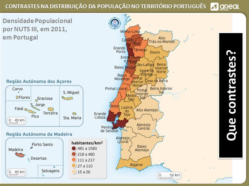 CONTRASTES NA DISTRIBUIÇÃO DA POPULAÇÃO NO TERRITÓRIO PORTUGUÊS Que contrastes.
