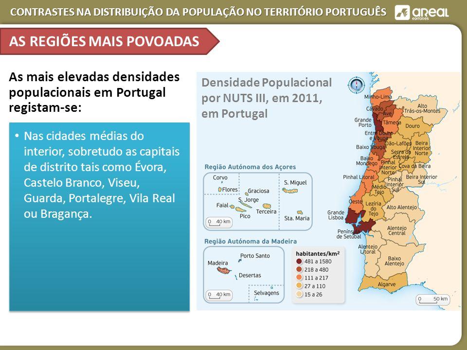 CONTRASTES NA DISTRIBUIÇÃO DA POPULAÇÃO NO TERRITÓRIO PORTUGUÊS AS REGIÕES MAIS POVOADAS Densidade Populacional por NUTS III, em 2011, em Portugal As mais elevadas densidades populacionais em Portugal registam-se: Nas cidades médias do interior, sobretudo as capitais de distrito tais como Évora, Castelo Branco, Viseu, Guarda, Portalegre, Vila Real ou Bragança.