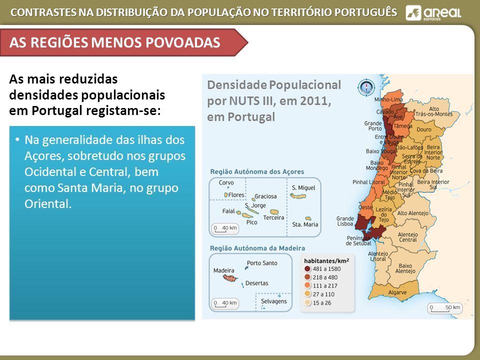 CONTRASTES NA DISTRIBUIÇÃO DA POPULAÇÃO NO TERRITÓRIO PORTUGUÊS AS REGIÕES MENOS POVOADAS Densidade Populacional por NUTS III, em 2011, em Portugal As mais reduzidas densidades populacionais em Portugal registam-se: Na generalidade das ilhas dos Açores, sobretudo nos grupos Ocidental e Central, bem como Santa Maria, no grupo Oriental.