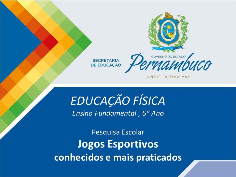 EDUCAÇÃO FÍSICA Ensino Fundamental, 6º Ano Pesquisa Escolar Jogos Esportivos conhecidos e mais praticados