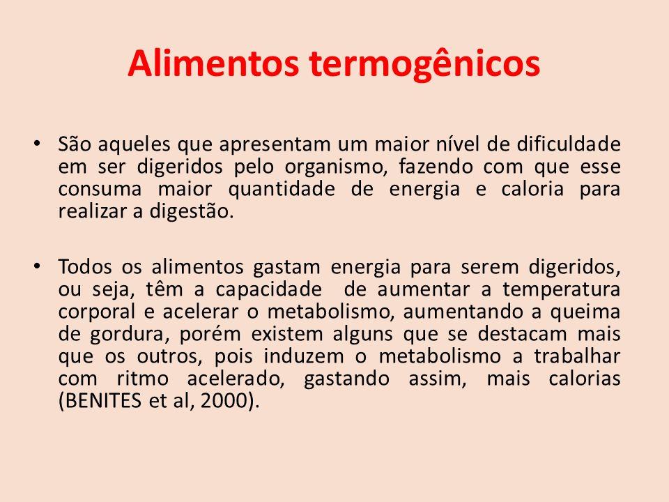 Alimentos termogênicos São aqueles que apresentam um maior nível de dificuldade em ser digeridos pelo organismo, fazendo com que esse consuma maior quantidade de energia e caloria para realizar a digestão.