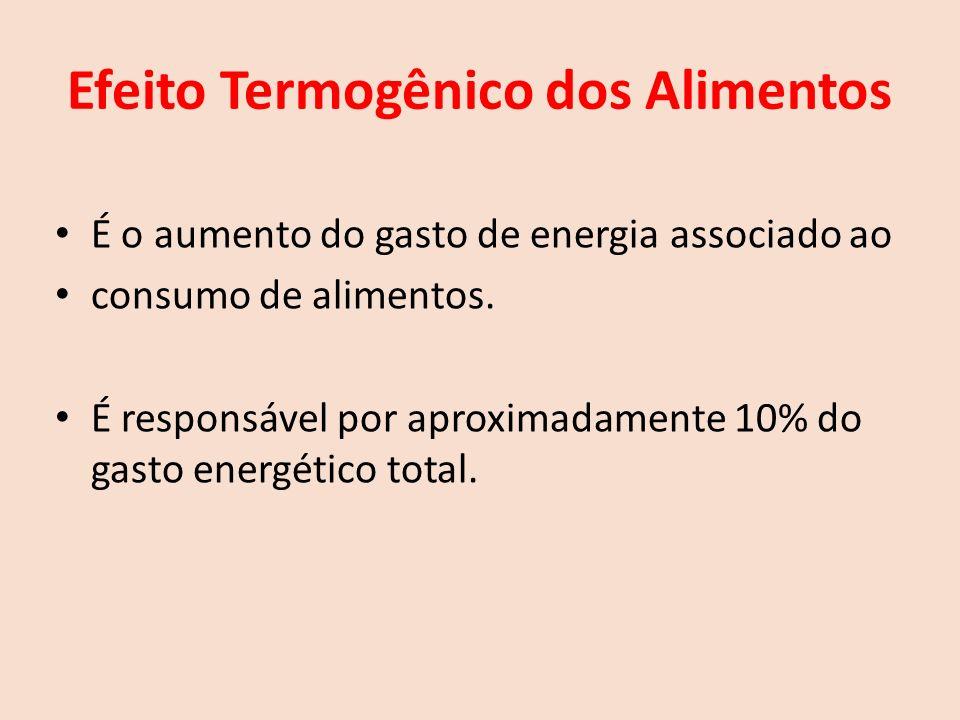 Efeito Termogênico dos Alimentos É o aumento do gasto de energia associado ao consumo de alimentos.