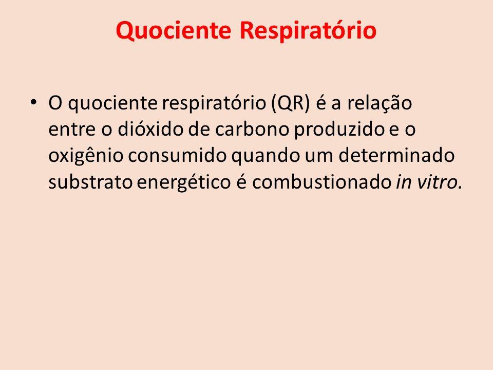 Quociente Respiratório O quociente respiratório (QR) é a relação entre o dióxido de carbono produzido e o oxigênio consumido quando um determinado substrato energético é combustionado in vitro.