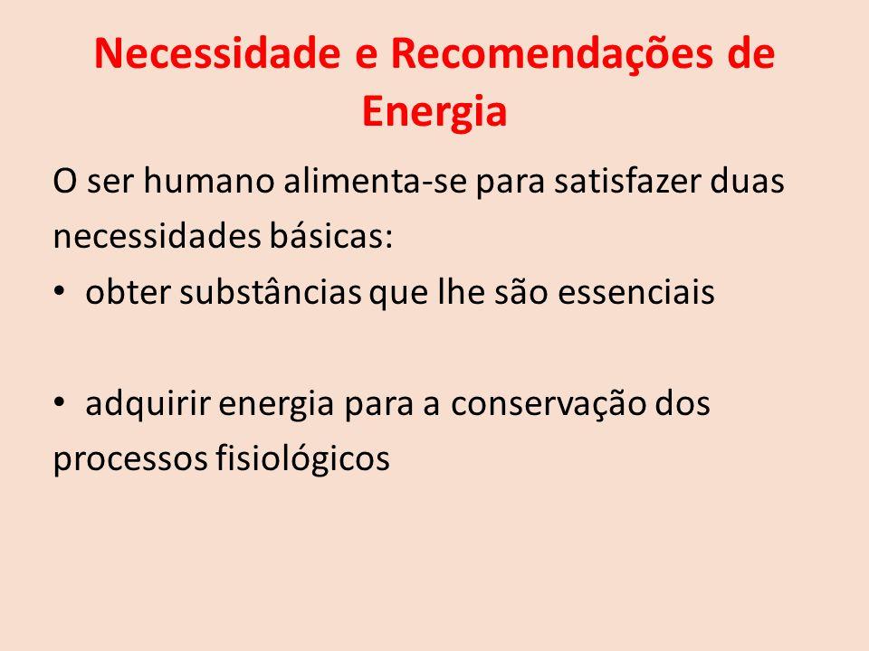 Necessidade e Recomendações de Energia O ser humano alimenta-se para satisfazer duas necessidades básicas: obter substâncias que lhe são essenciais adquirir energia para a conservação dos processos fisiológicos