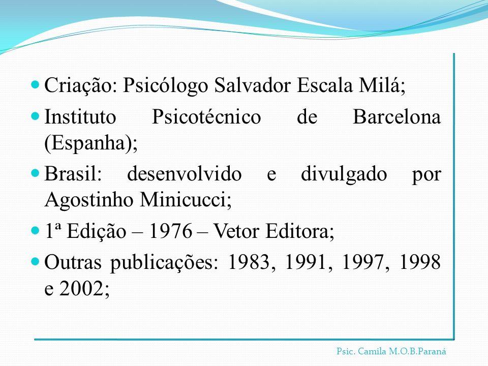 Criação: Psicólogo Salvador Escala Milá; Instituto Psicotécnico de Barcelona (Espanha); Brasil: desenvolvido e divulgado por Agostinho Minicucci; 1ª E