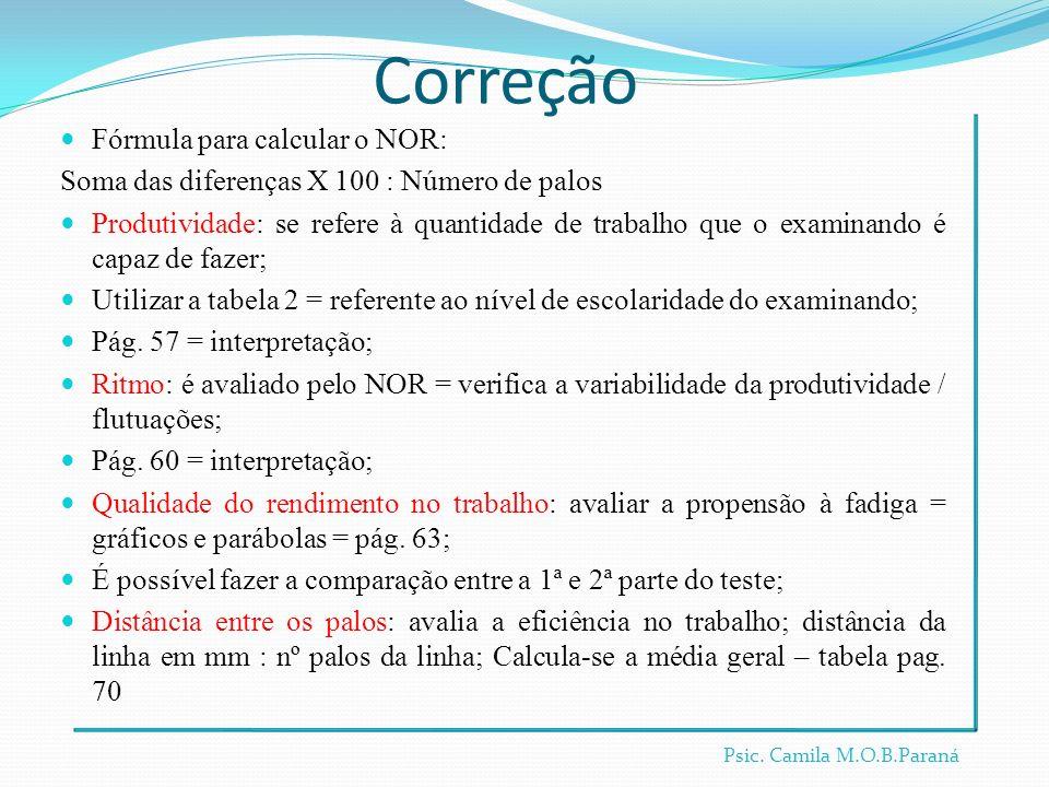 Correção Fórmula para calcular o NOR: Soma das diferenças X 100 : Número de palos Produtividade: se refere à quantidade de trabalho que o examinando é