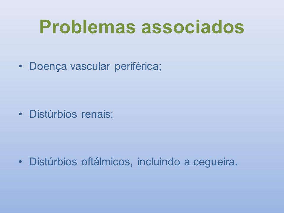 Doença vascular periférica; Distúrbios renais; Distúrbios oftálmicos, incluindo a cegueira. Problemas associados