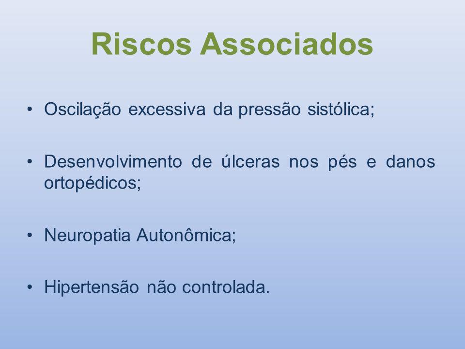Riscos Associados Oscilação excessiva da pressão sistólica; Desenvolvimento de úlceras nos pés e danos ortopédicos; Neuropatia Autonômica; Hipertensão