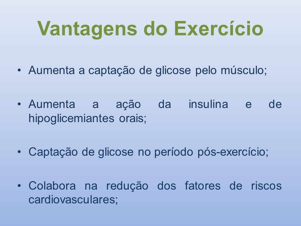 Vantagens do Exercício Aumenta a captação de glicose pelo músculo; Aumenta a ação da insulina e de hipoglicemiantes orais; Captação de glicose no perí
