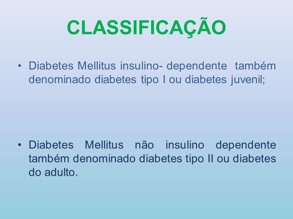 CLASSIFICAÇÃO Diabetes Mellitus insulino- dependente também denominado diabetes tipo I ou diabetes juvenil; Diabetes Mellitus não insulino dependente