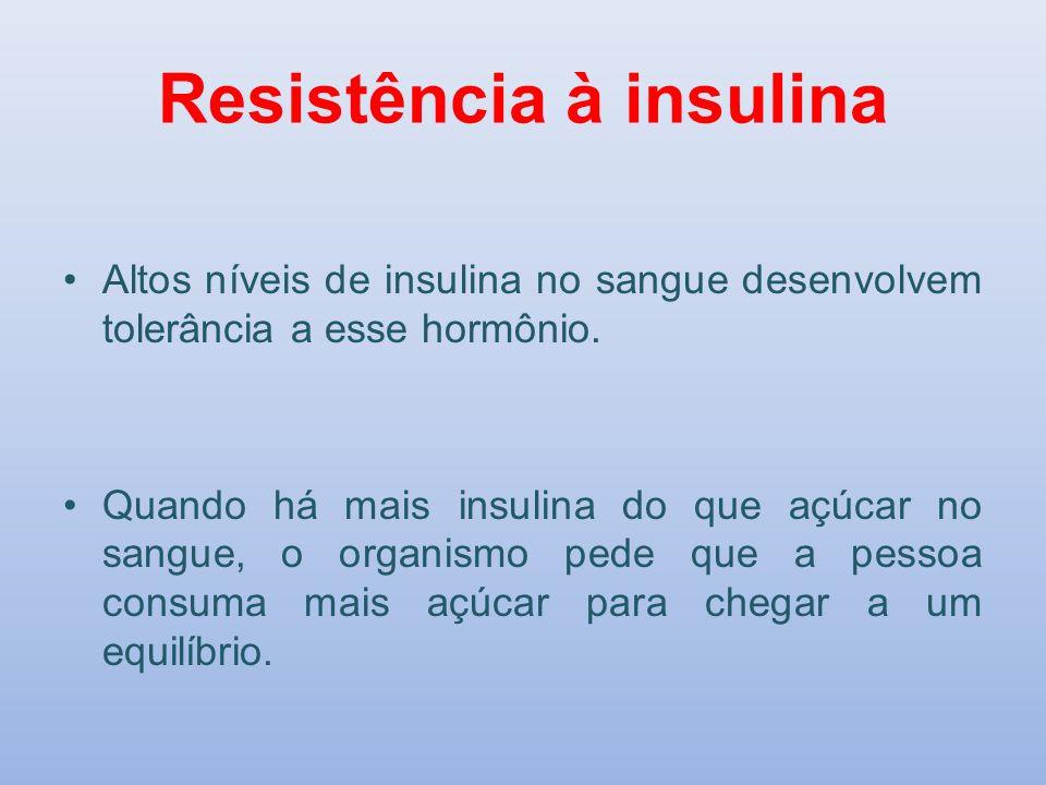 Resistência à insulina Altos níveis de insulina no sangue desenvolvem tolerância a esse hormônio. Quando há mais insulina do que açúcar no sangue, o o