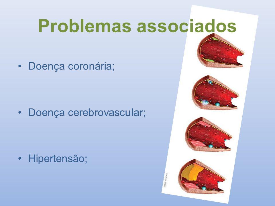 Problemas associados Doença coronária; Doença cerebrovascular; Hipertensão;