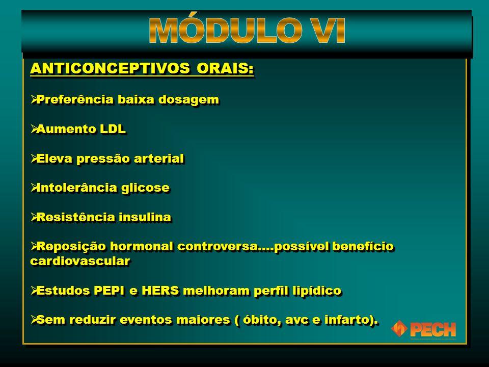 ANTICONCEPTIVOS ORAIS:  Preferência baixa dosagem  Aumento LDL  Eleva pressão arterial  Intolerância glicose  Resistência insulina  Reposição ho