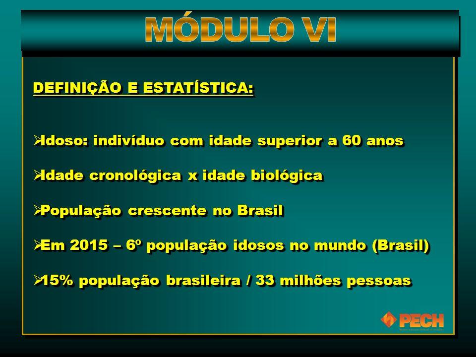 DEFINIÇÃO E ESTATÍSTICA:  Idoso: indivíduo com idade superior a 60 anos  Idade cronológica x idade biológica  População crescente no Brasil  Em 2015 – 6º população idosos no mundo (Brasil)  15% população brasileira / 33 milhões pessoas DEFINIÇÃO E ESTATÍSTICA:  Idoso: indivíduo com idade superior a 60 anos  Idade cronológica x idade biológica  População crescente no Brasil  Em 2015 – 6º população idosos no mundo (Brasil)  15% população brasileira / 33 milhões pessoas