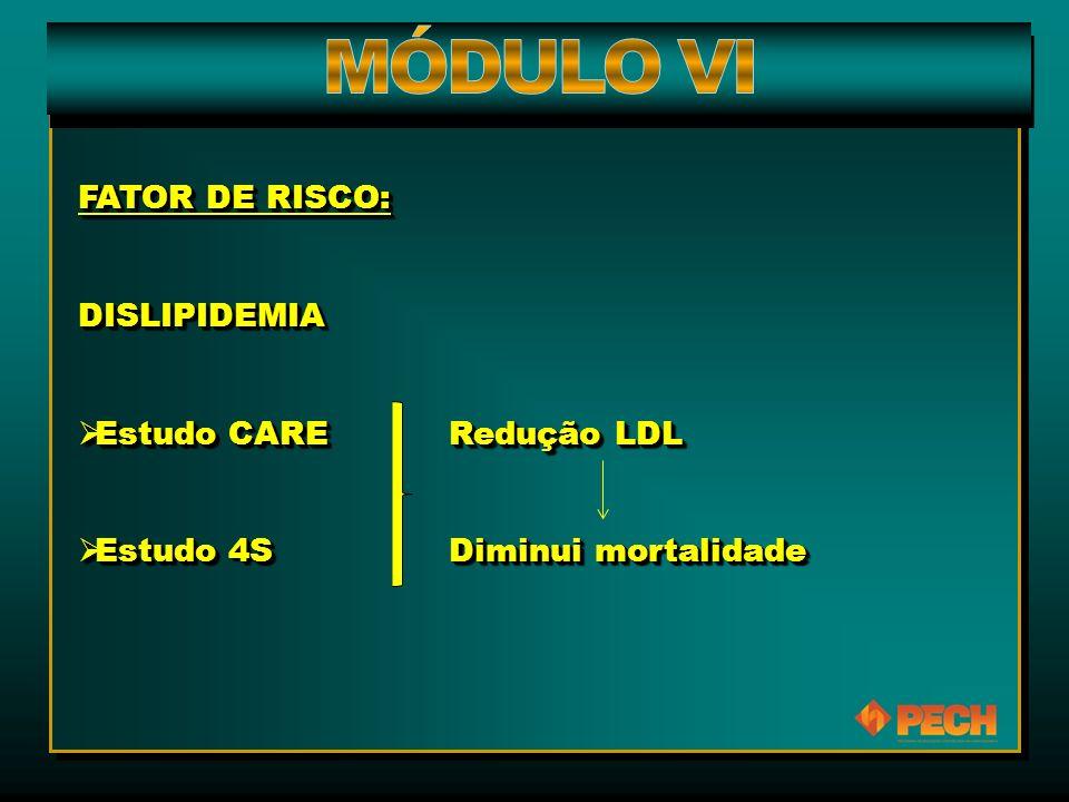 FATOR DE RISCO: DISLIPIDEMIA  Estudo CARE Redução LDL  Estudo 4S Diminui mortalidade FATOR DE RISCO: DISLIPIDEMIA  Estudo CARE Redução LDL  Estudo 4S Diminui mortalidade