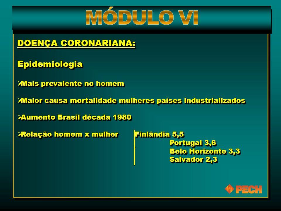 DOENÇA CORONARIANA: Epidemiologia  Mais prevalente no homem  Maior causa mortalidade mulheres países industrializados  Aumento Brasil década 1980 