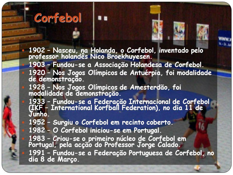 1902 – Nasceu, na Holanda, o Corfebol, inventado pelo professor holandês Nico Broekhuyesen.