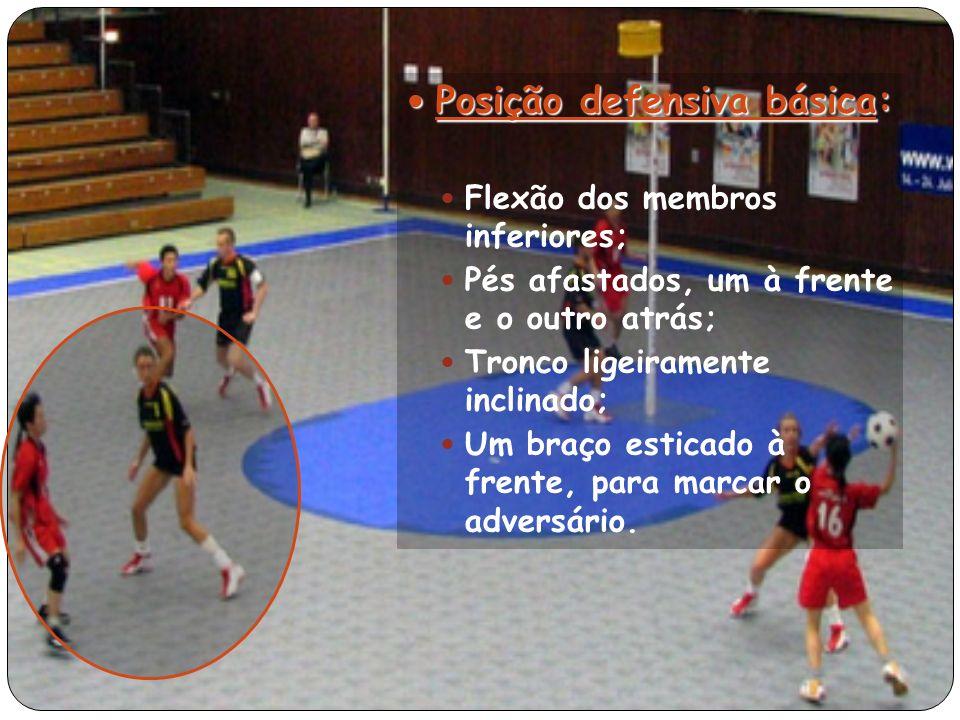 Posição defensiva básica: Posição defensiva básica: Flexão dos membros inferiores; Pés afastados, um à frente e o outro atrás; Tronco ligeiramente inclinado; Um braço esticado à frente, para marcar o adversário.