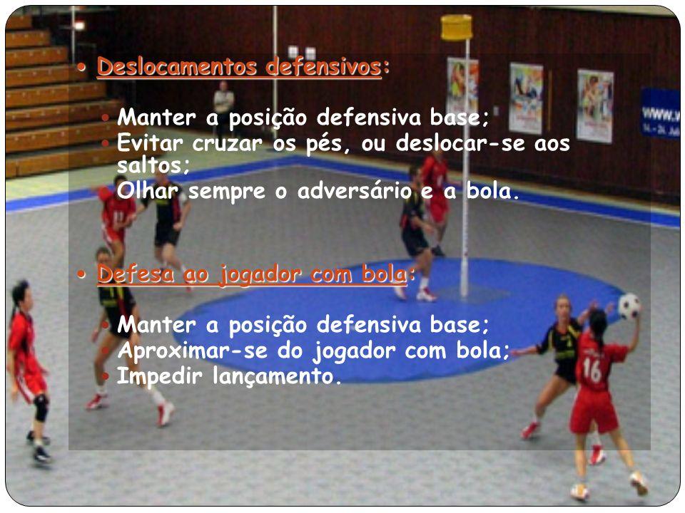 Deslocamentos defensivos: Deslocamentos defensivos: Manter a posição defensiva base; Evitar cruzar os pés, ou deslocar-se aos saltos; Olhar sempre o adversário e a bola.