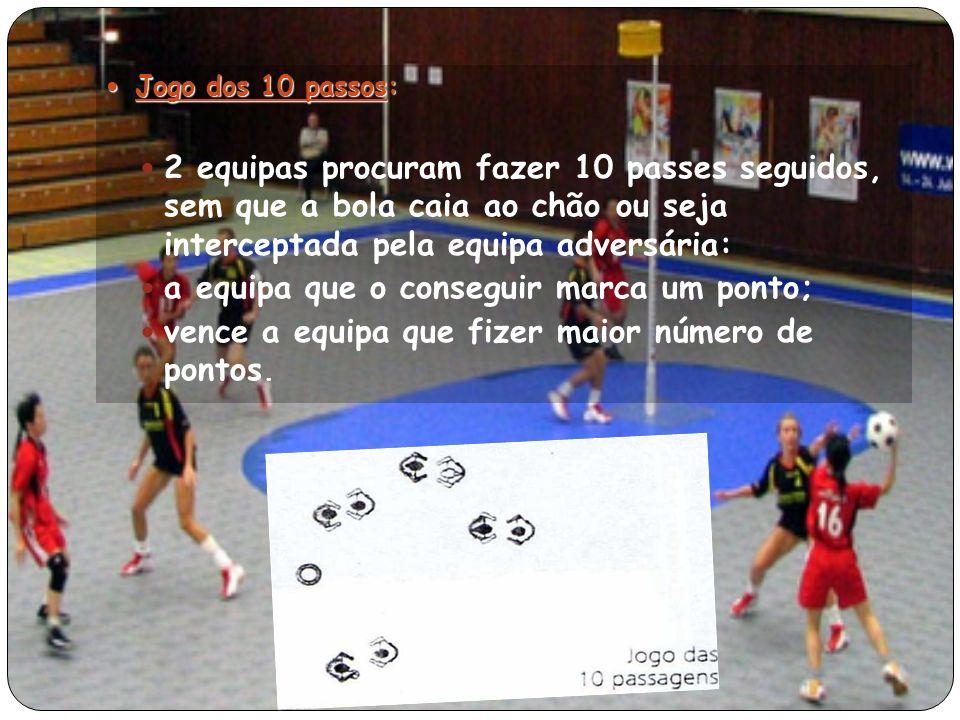 Jogo dos 10 passos: Jogo dos 10 passos: 2 equipas procuram fazer 10 passes seguidos, sem que a bola caia ao chão ou seja interceptada pela equipa adversária: a equipa que o conseguir marca um ponto; vence a equipa que fizer maior número de pontos.