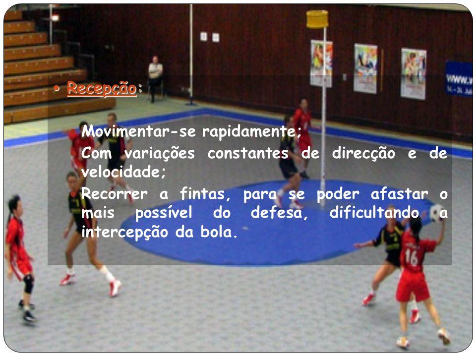 Recepção: Recepção: Movimentar-se rapidamente; Com variações constantes de direcção e de velocidade; Recorrer a fintas, para se poder afastar o mais possível do defesa, dificultando a intercepção da bola.
